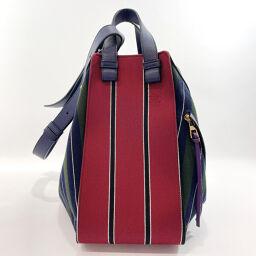 LOEWE Loewe Shoulder Bag 387 81 T38 Hammock Medium Canvas / Leather Navy Red [Used] Ladies