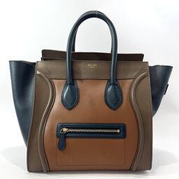 CELINE Celine Handbag Micro Shopper Leather Brown Brown [Used] Ladies