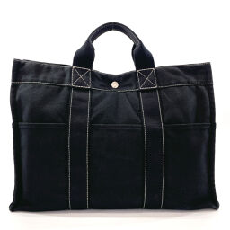 HERMES Hermes Tote Bag Deauville MM Canvas / 100% Cotton Black [Used] Ladies