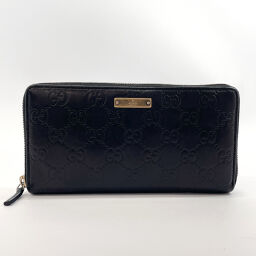 GUCCI Gucci wallet 112724 Round zipper Shima leather black [Used] Ladies