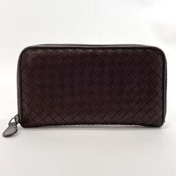 BOTTEGAVENETA Bottega Veneta long wallet 114076 Intrecciato round fastener leather brown [used] unisex