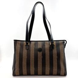 FENDI FENDI Tote Bag Tote Bag Pecan PVC / Leather Black Black [Used] Ladies