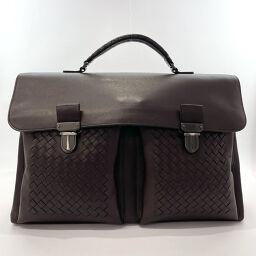 BOTTEGA VENETA Briefcase Intrecciato Leather Dark Brown [Used] Men's
