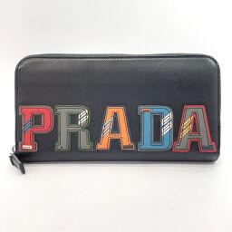 PRADA Prada Long Wallet 230-E Round Zip Saffiano Leather Black [Used] Ladies