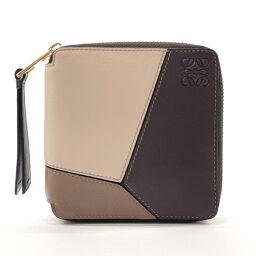 LOEWE Loewe Bi-Fold Wallet Puzzle Leather Brown Brown [Used] Unisex