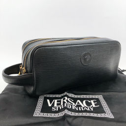 VERSACE Versace Second Bag Leather Black [Used] Men