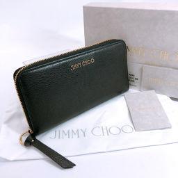JIMMY CHOO ジミーチュウ ラウンドジップ 長財布 レザー ブラック ゴールド【中古】 レディース