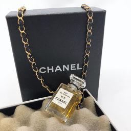 CHANEL シャネル No.5 オードパルファム 香水ボトル Eau de Parfum ネックレス メタル/レザー ゴールド ブラック【中古】 レディース