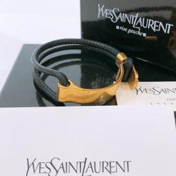 Yves Saint Laurent rive gauche イヴサンローランリヴゴーシュ バングル レザー/メタル ブラック ゴールド【中古】 レディース