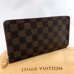 LOUIS VUITTON Louis Vuitton long wallet N61728 Portomonet Zip Damier Canvas Brown [Used] Unisex