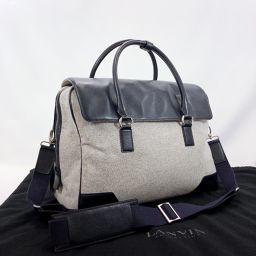 LANVIN Lanvin Boston Bag 2way Business Bag Canvas / Synthetic Leather Gray Black [Used] Men