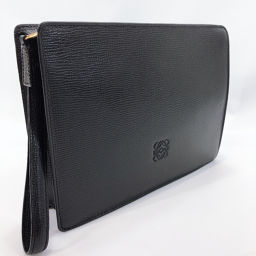 LOEWE LOEWE Clutch Bag Anagram Leather Black [Used] Unisex