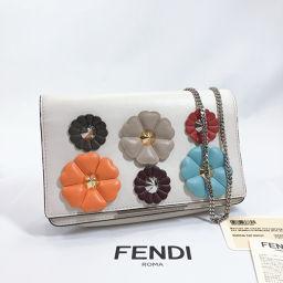 FENDI Fendi Shoulder Bag 8M0346-9JP Chain Wallet Flower Stud Leather White Multicolor [Used] Ladies