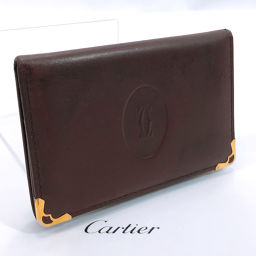 CARTIER Cartier Card Case Leather Wine Red [Used] Unisex