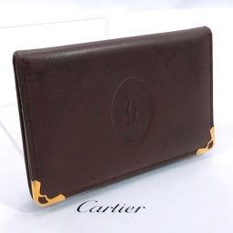 CARTIER カルティエ カードケース レザー ワインレッド【中古】 ユニセックス