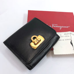 Salvatore Ferragamo Coin Case Leather Black Gold [Used] Ladies