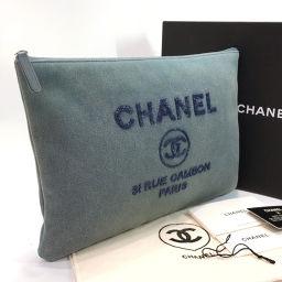 CHANEL シャネル クラッチバッグ A80117 ドーヴィル スパンコール デニム ブルー【中古】 レディース