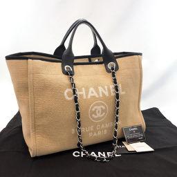 CHANEL シャネル トートバッグ A66941 ドーヴィル GM 2way キャンバス ベージュ ブラック【中古】 レディース