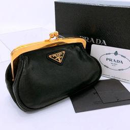 PRADA プラダ コインケース 1M1179 がま口財布/ナッパレザー ブラック ゴールド金具【中古】 レディース