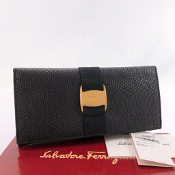 Salvatore Ferragamo Long Wallet Vala Leather Black [Used] Ladies