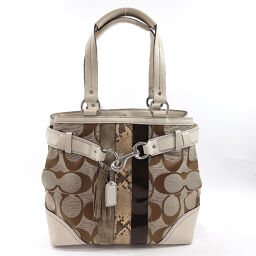 COACH Coach Tote Bag 10264 Signature Canvas Brown [Used] Ladies