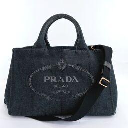 PRADA プラダ トートバッグ カナパ 2way デニム ブラックデニム【中古】 レディース