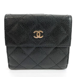 CHANEL Bi-Fold Wallet A48980 Matrasse W Hook Matte Caviar Skin Black [Used] Ladies