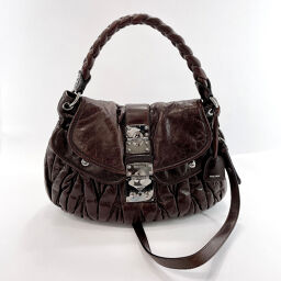 MIUMIU Miu Miu Shoulder Bag Materasse 2WAY Leather / Silver Metal Fittings Brown [Used] Ladies