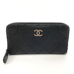 CHANEL Long Wallet Wild Stitch Round Zipper Matte Caviar Skin Black [Used] Ladies