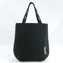 YVES SAINT LAURENT Yves Saint Laurent Tote Bag Novelty Parfums Canvas / Nylon Black Gold [Used] Ladies