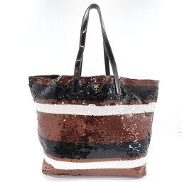 PRADA Prada Tote Bag Border Sequin Brown White [Used] Ladies