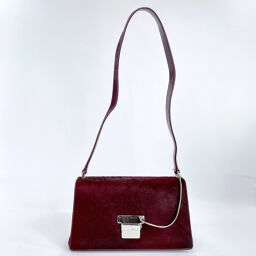 GUCCI Gucci Shoulder Bag Vintage Harako / Leather Wine Red Silver Hardware [Used] Ladies