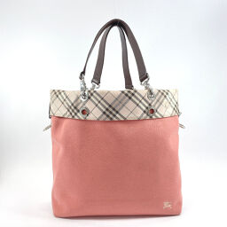 BURBERRY BLUE LABEL Burberry Blue Label Tote Bag Tartan Check Canvas Pink [Used] Ladies
