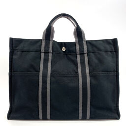 HERMES Hermes Tote Bag Fool To MM Toile Officier Black Silver Metal Fittings [Used] Unisex