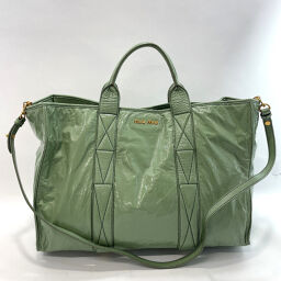 MIUMIU Miu Miu Tote Bag 2way Patent Leather Green [Used] Ladies