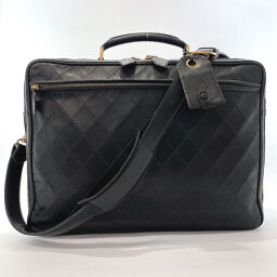 CHANEL Business Bag Bicolore Briefcase 2WAY Cosmos Line Lambskin Black Gold Metal Fittings [Used] Men's