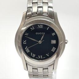 GUCCI Gucci Watch 5500M Quartz Stainless Steel Silver Quartz Black Dial [Used] Men's