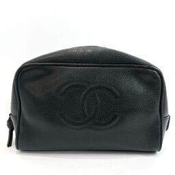 CHANEL Chanel Pouch Makeup Pouch Coco Mark Matte Caviar Skin Black Gold Metal Fittings [Used] Ladies