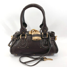 Chloe Chloe Handbag Paddington Mini Leather Dark Brown [Used] Ladies