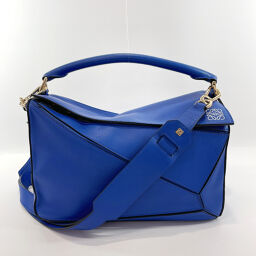 LOEWE Loewe Shoulder Bag Puzzle Bag 2way Leather Blue [Used] Ladies