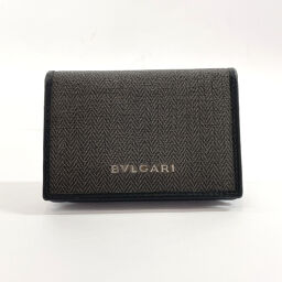 BVLGARI Bvlgari Card Case 32'588 Business Card Holder Weekend PVC / Leather Khaki Black [Used] Men's