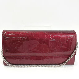 Dior Dior Purse Trotter Chain Wallet Patent Leather Wine Red [Used] Ladies