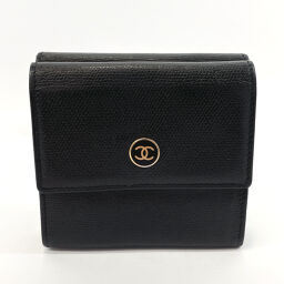 CHANEL Bi-Fold Wallet W Hook Coco Button Leather Black [Used] Ladies