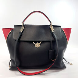 Salvatore Ferragamo Salvatore Ferragamo Handbag 2Way Gancio Bicolor Leather Black Red [Used]