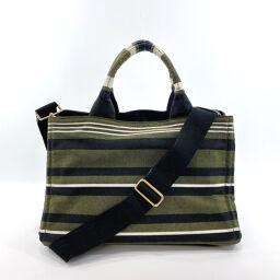 PRADA Prada Tote Bag B1877B Kanapa STAMPATA 2way Striped Pattern Canvas Green (Military) Black [Used] Ladies