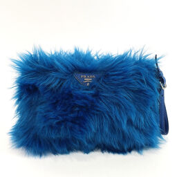 PRADA Prada Pouch Fafer Polyester Blue [Used] Ladies