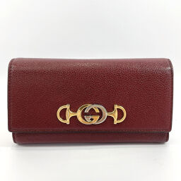 GUCCI Gucci wallet 573612 Horsebit Zumi Continental Wallet Leather Wine Red [Used] Ladies