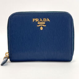 PRADA Prada Coin Case 1MM268 Leather Blue [Used] Unisex