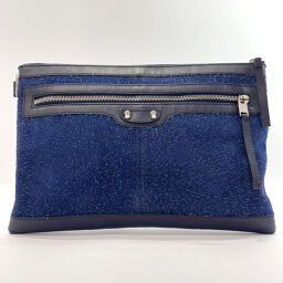 BALENCIAGA Balenciaga Clutch Bag 273022.1110.B.538735 Clip L Suede / Leather Navy [Used] Ladies