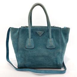PRADA Prada Tote Bag BN2625 2way Suede Blue [Used] Ladies